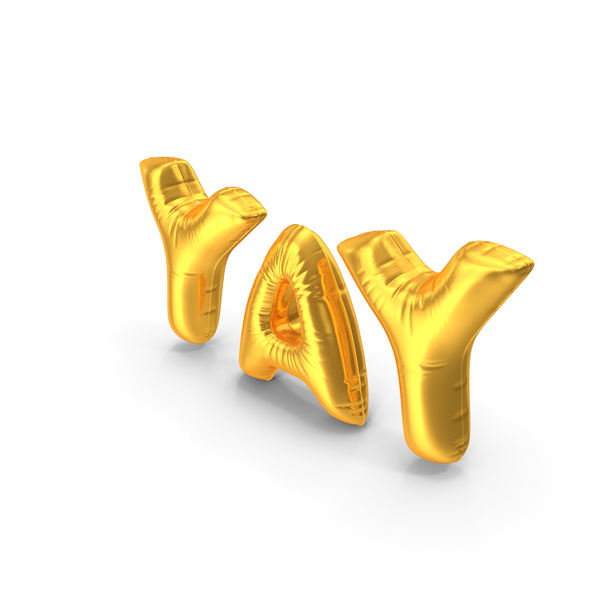 Foil Balloon Words Yay Gold PNG & PSD Images