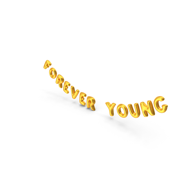 Balloons: Foil Baloon Words Forever Young Gold PNG & PSD Images