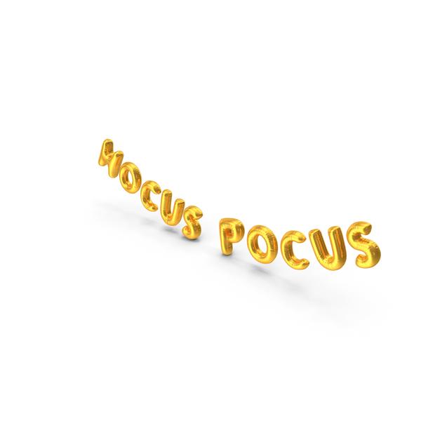 Foil Baloon Words HOCUS POCUS Gold PNG & PSD Images