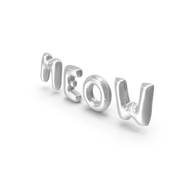 Balloons: Foil Baloon Words Meow Silver PNG & PSD Images