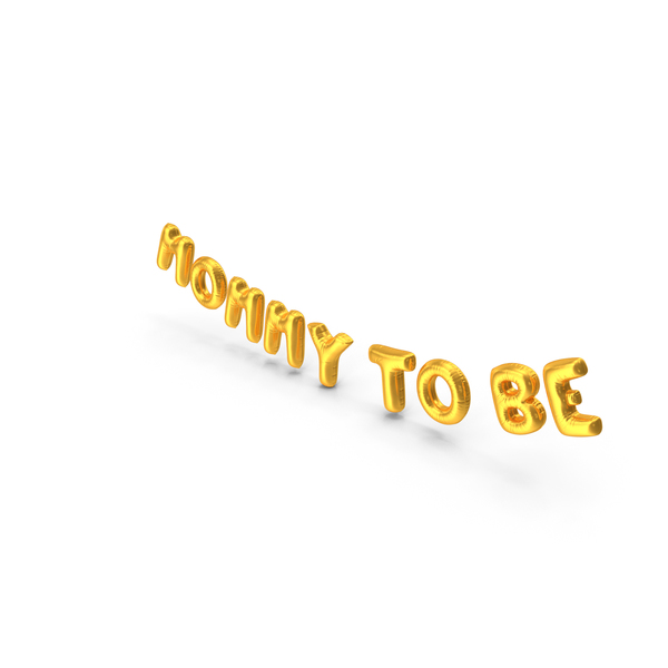 Balloons: Foil Baloon Words Mommy to be Gold PNG & PSD Images
