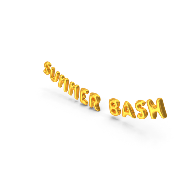 Balloons: Foil Baloon Words Summer Bash Gold PNG & PSD Images