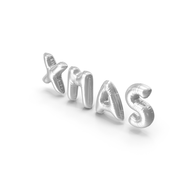 Balloons: Foil Baloon Words XMAS Silver PNG & PSD Images