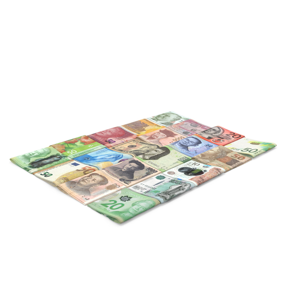 Banknote: Folded Stacks of Banknotes from Different Countries PNG & PSD Images