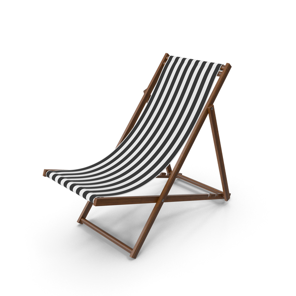Outdoor: Folding Beach Chair with Black Strips Fabric PNG & PSD Images