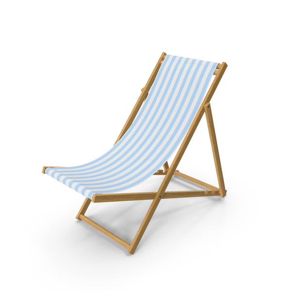 Folding Beach Chair with Blue Strips Fabric PNG & PSD Images