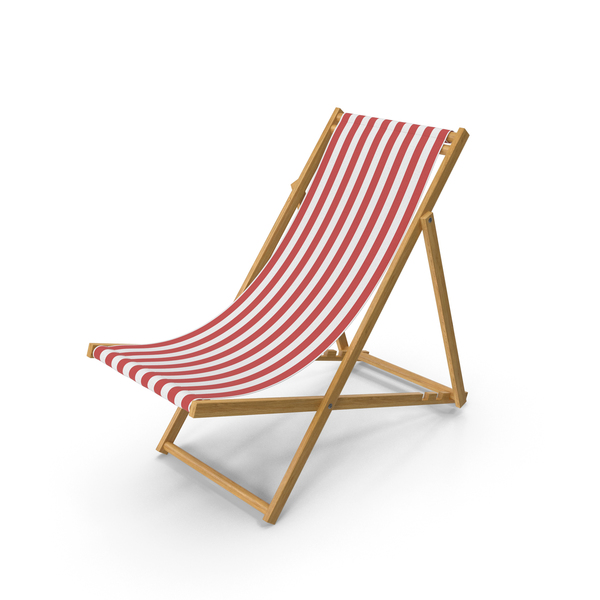 Folding Beach Chair with Red Strips Fabric PNG & PSD Images