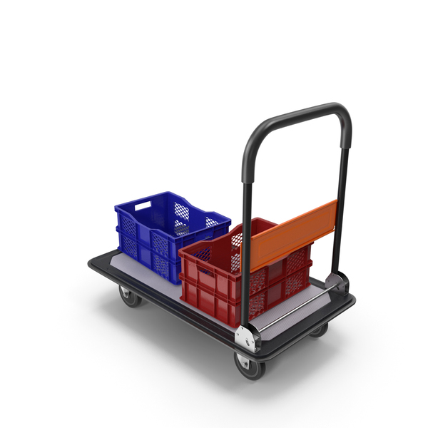 Folding Handle Trolley with Crates PNG & PSD Images