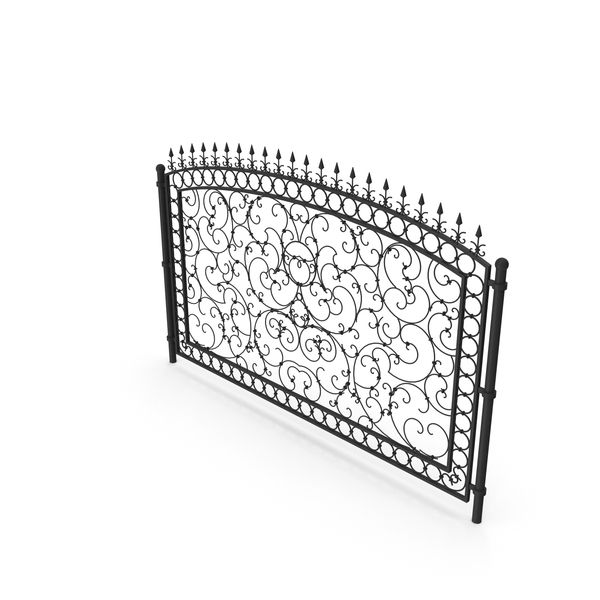 Wrought Iron: Forged Metal Fence Segment PNG & PSD Images