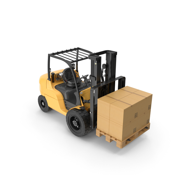 Cardboard Box: Forklift With Boxes On Pallet PNG & PSD Images