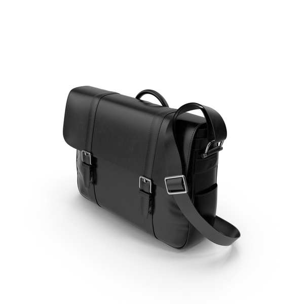 Fossil Men's Black Leather Messenger Bag PNG & PSD Images