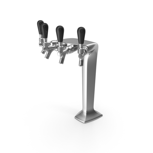Four Tap Stainless Steel Beer Tower PNG & PSD Images