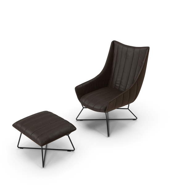 Freifrau Rubie Armchair and Ottoman PNG & PSD Images