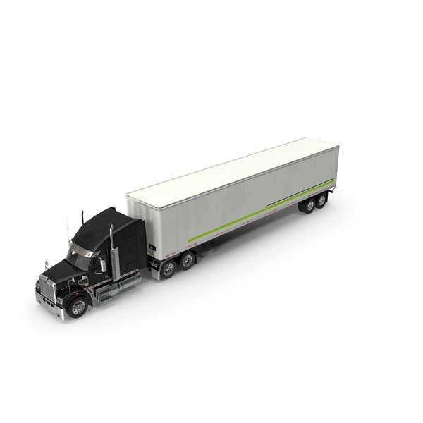 Freightliner 122SD with Trailer PNG & PSD Images