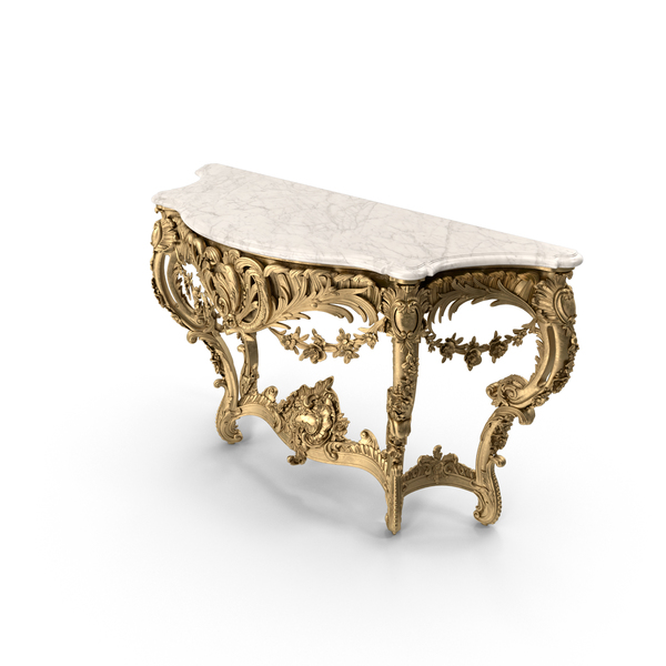 Table: French 19th Century Louis XV St Giltwood Freestanding Console PNG & PSD Images