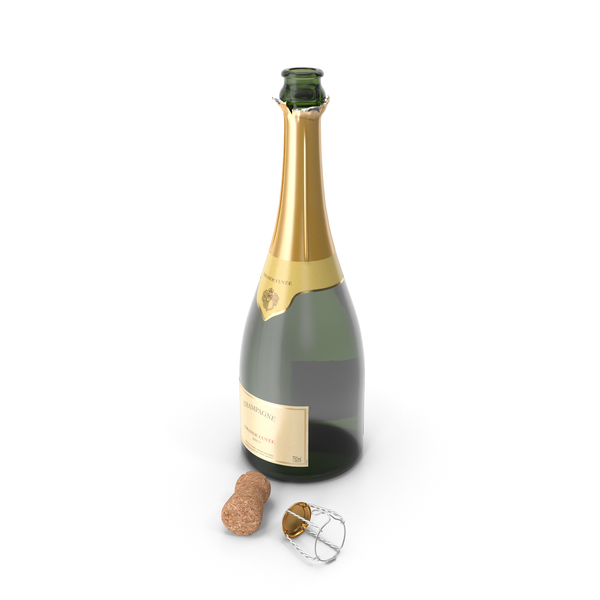 French Champagne Bottle Generic Opened PNG & PSD Images