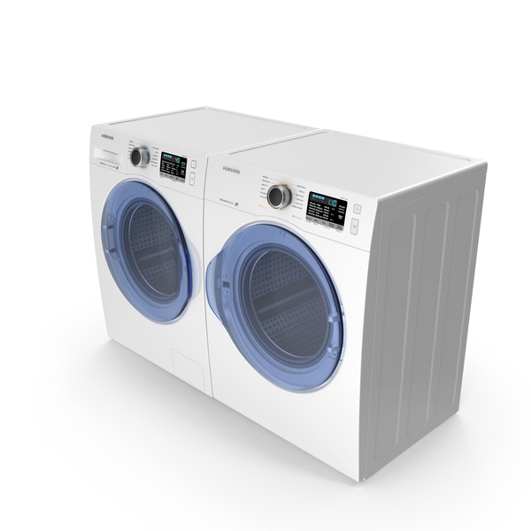 Front Load Washing Machine and Dryer Samsung White PNG & PSD Images