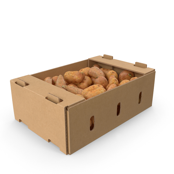 Full Cardboard Box With Sweet Potato PNG & PSD Images