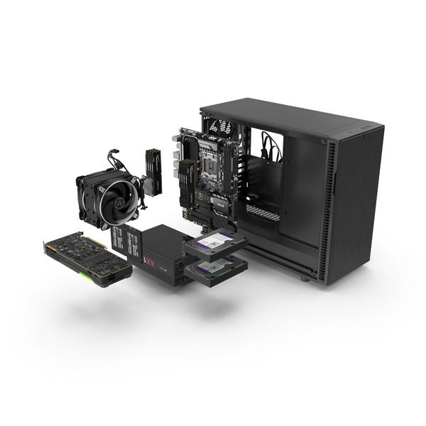 Desktop Computer: Full PC Case Expanded PNG & PSD Images