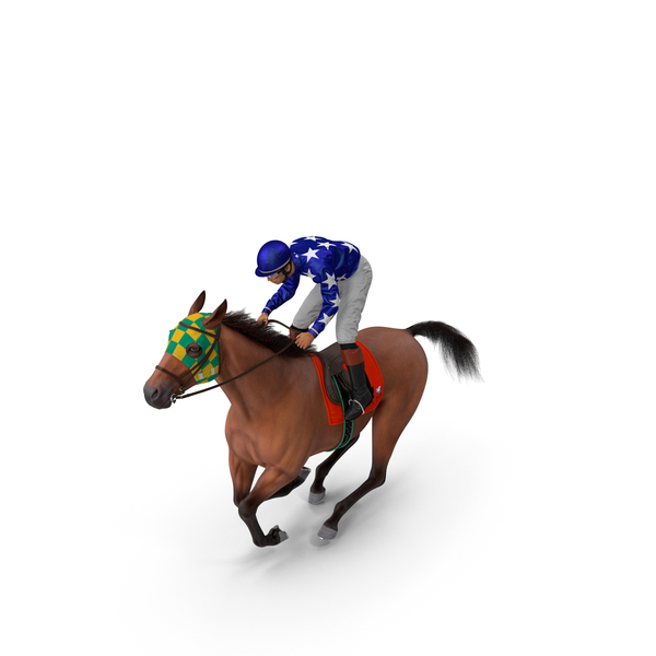 Gallop Bay Racing Horse with Jockey Fur PNG & PSD Images