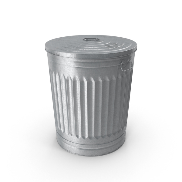 Galvanized Steel Garbage Can PNG & PSD Images