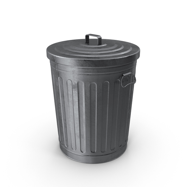 Dustbin: Galvanized Steel Trash Can PNG & PSD Images