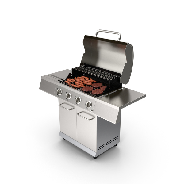 Gas Grill with Sausages PNG & PSD Images