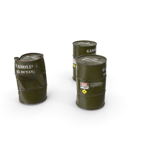 Gasoline 95 Octane Metal Barrel Set PNG & PSD Images