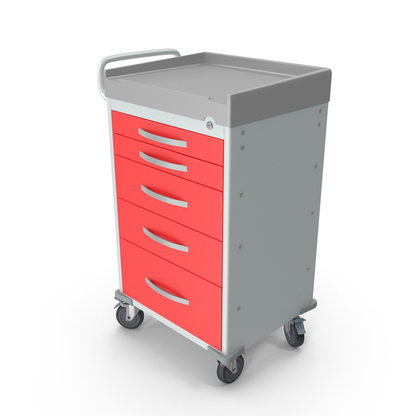 Table: General Purpose Medical Cart with Drawers PNG & PSD Images