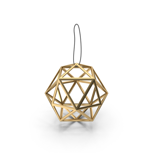 Ornament: Geometric Gold Ball Decoration PNG & PSD Images
