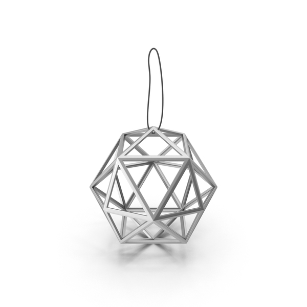 Ornament: Geometric Silver Ball Decoration PNG & PSD Images