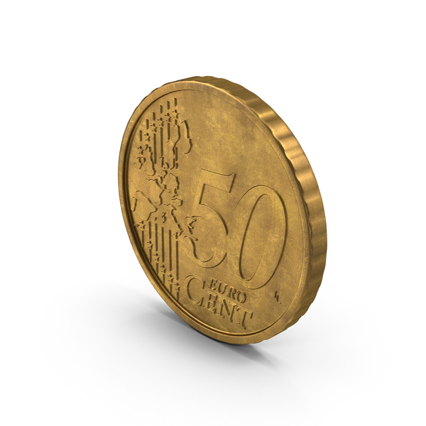 German 50 Cent Euro Coin Aged Object