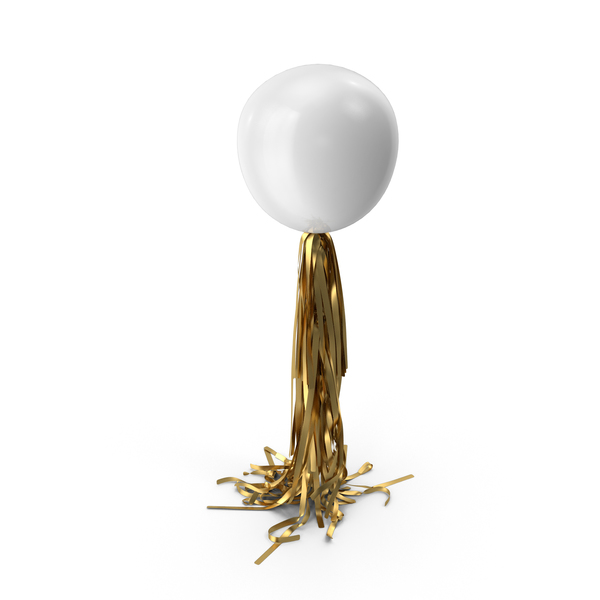 Giant White Balloon with Gold Tassel Garland PNG & PSD Images