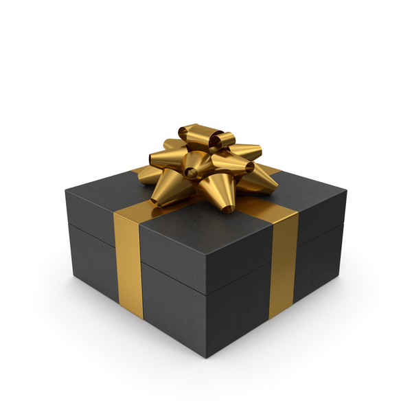 Bow: Gift Box Black Gold PNG & PSD Images