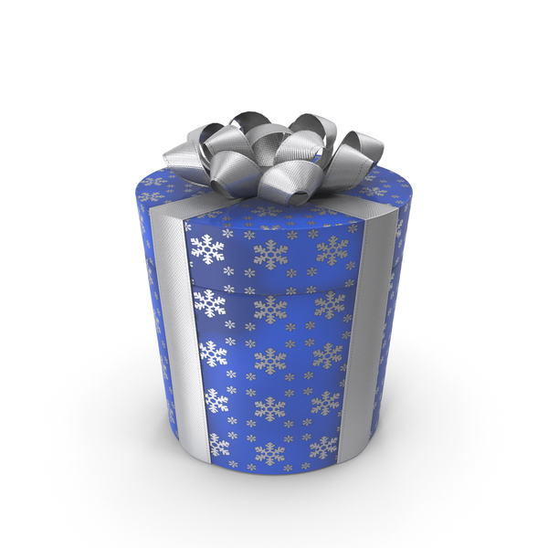 Gift Box Cylinder Blue PNG & PSD Images