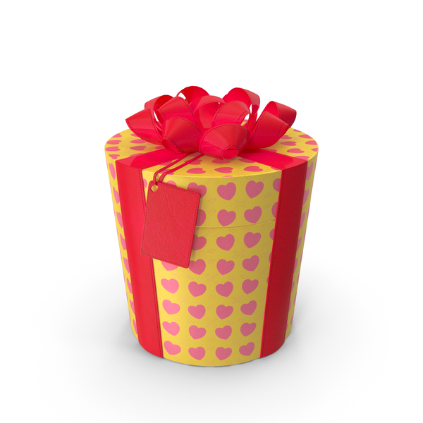 Gift Box Cylinder Label Yellow PNG & PSD Images