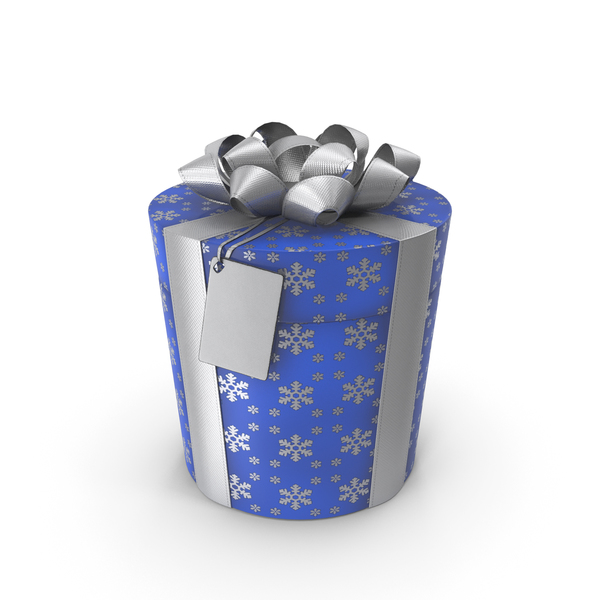 Gift Box Cylinder Lable Blue PNG & PSD Images