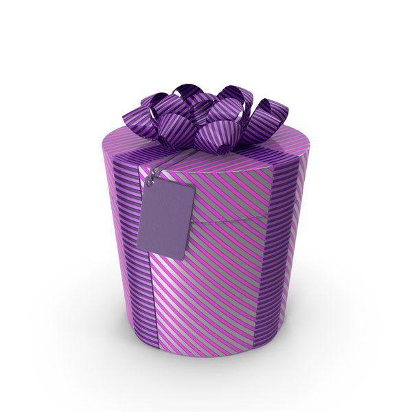 Lable: Gift Box Cylinder  Label Purple PNG & PSD Images