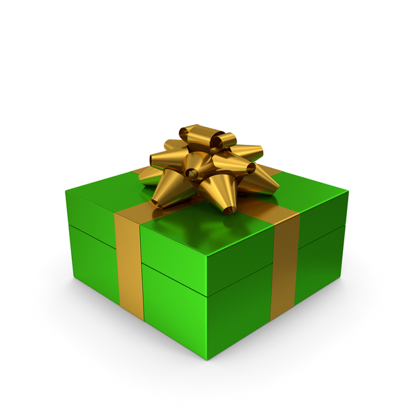 Gift Box Green Gold PNG & PSD Images