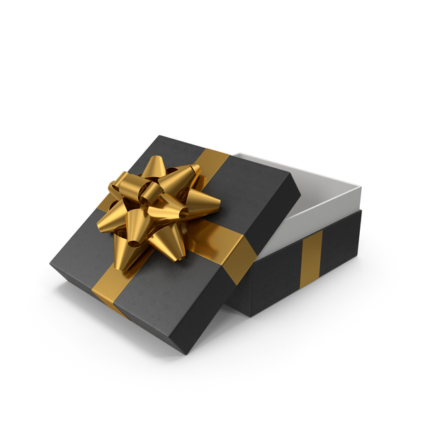 Bow: Gift Box Opened Black Gold PNG & PSD Images