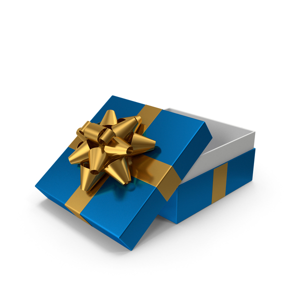 Bow: Gift Box Opened Blue Gold PNG & PSD Images
