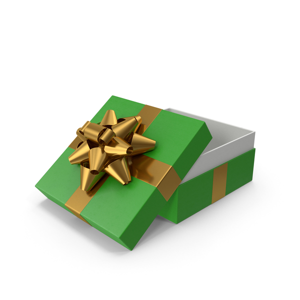 Bow: Gift Box Opened Green Gold PNG & PSD Images