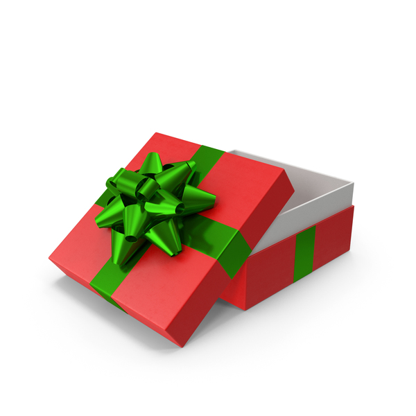Bow: Gift Box Opened Red Green PNG & PSD Images