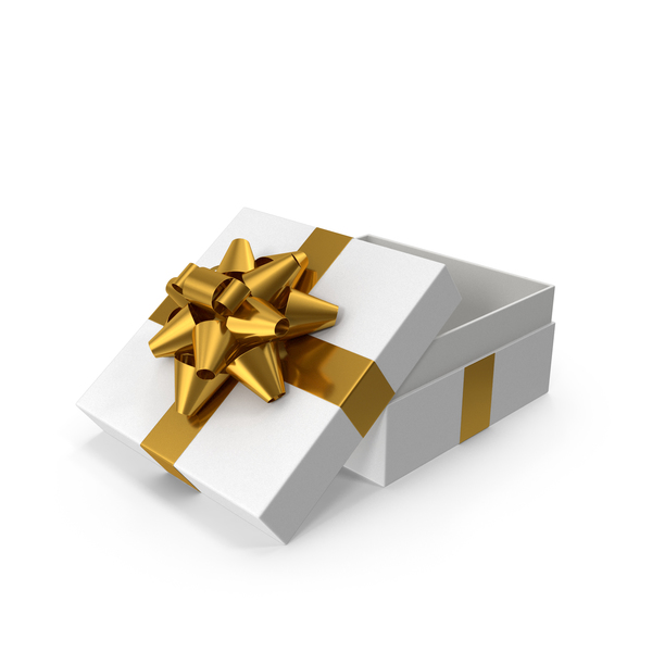 Bow: Gift Box Opened White Gold PNG & PSD Images