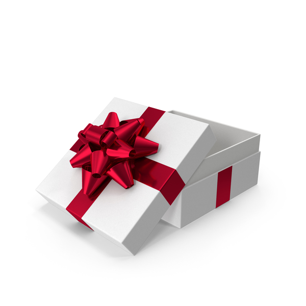Bow: Gift Box Opened White Red PNG & PSD Images