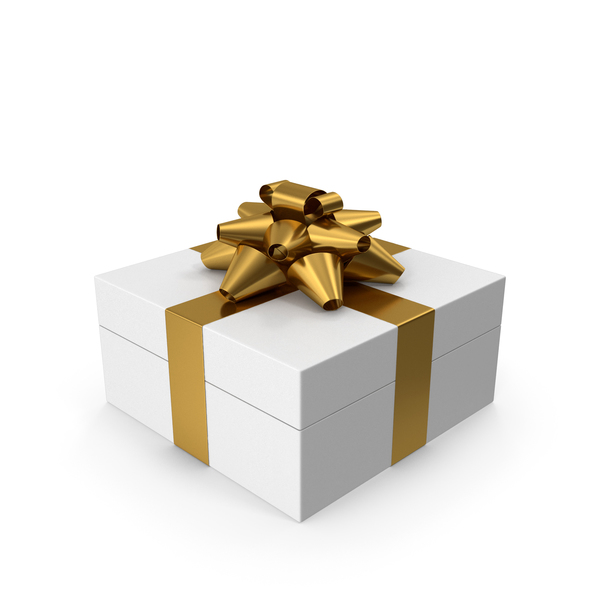 Gift Box White Gold PNG & PSD Images