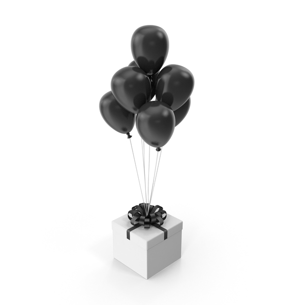 Gift Box with Black Ribbon and Black Ballons PNG & PSD Images