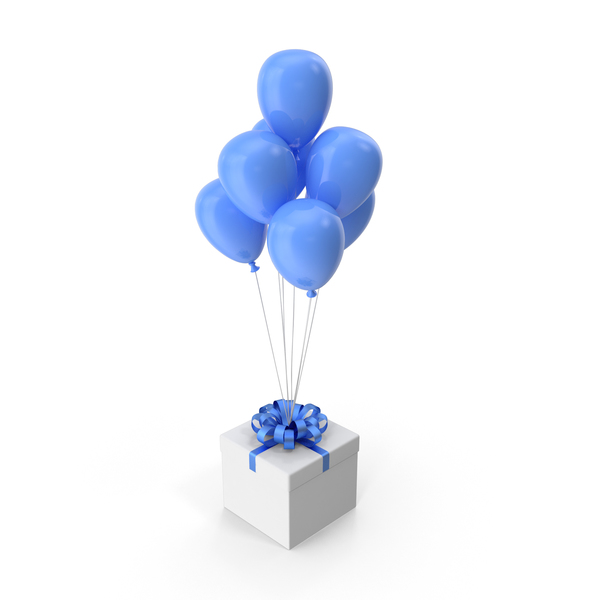 Gift Box with Blue Ribbon and Blue Ballons PNG & PSD Images