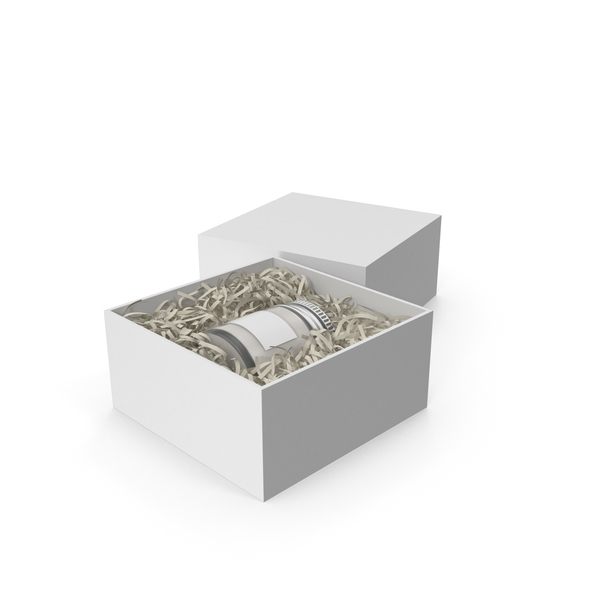 Gift Box with Candle White Jar PNG & PSD Images