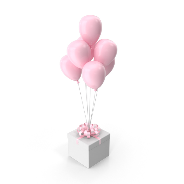 Gift Box with Pink Ribbon and Pink Balloons PNG & PSD Images